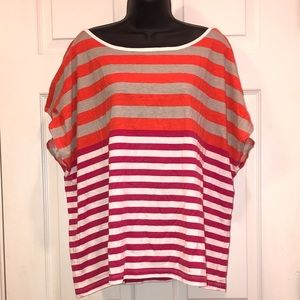Tops - Multicolored Striped Short Sleeve Tee Shirt